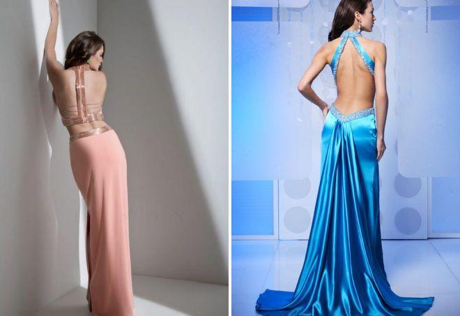длинные вечерние платья с открытой спиной