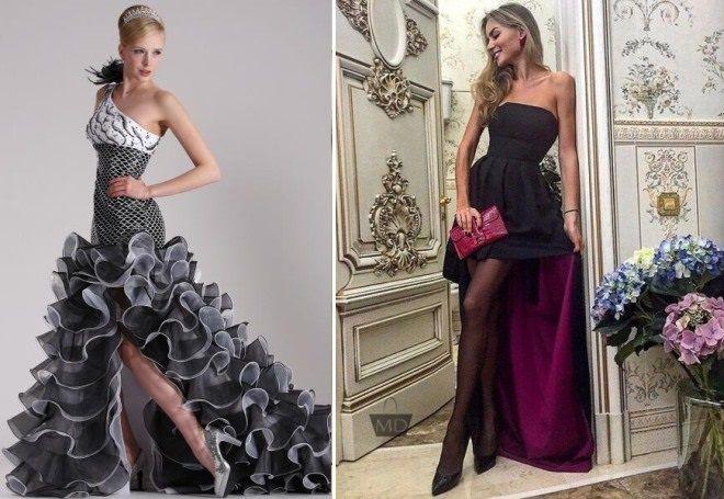 стильное длинное вечернее платье со шлейфом