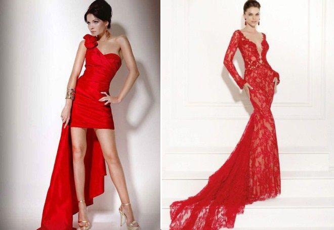 красное вечернее платье со шлейфом в пол
