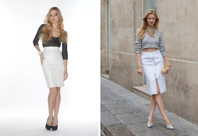 белая кожаная юбка-карандаш