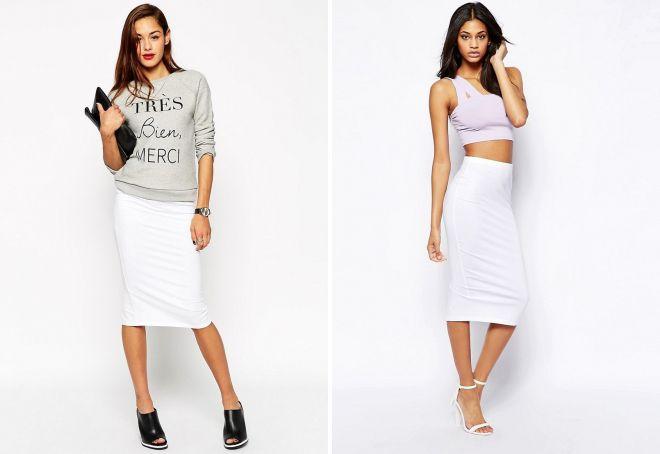 белая трикотажная юбка-карандаш