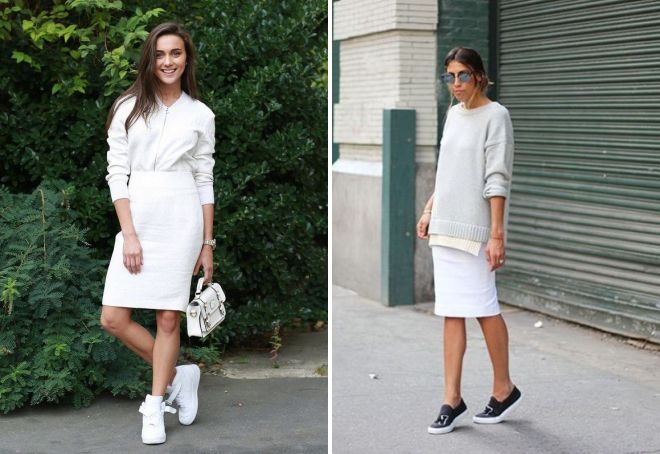 блузка и белая юбка-карандаш