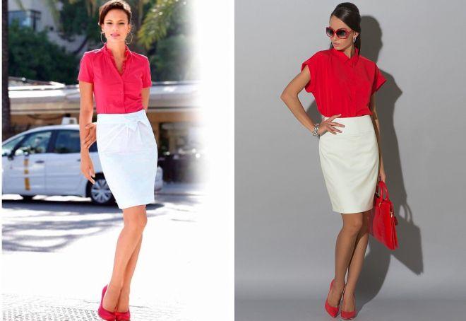 блузка под белую юбку карандаш