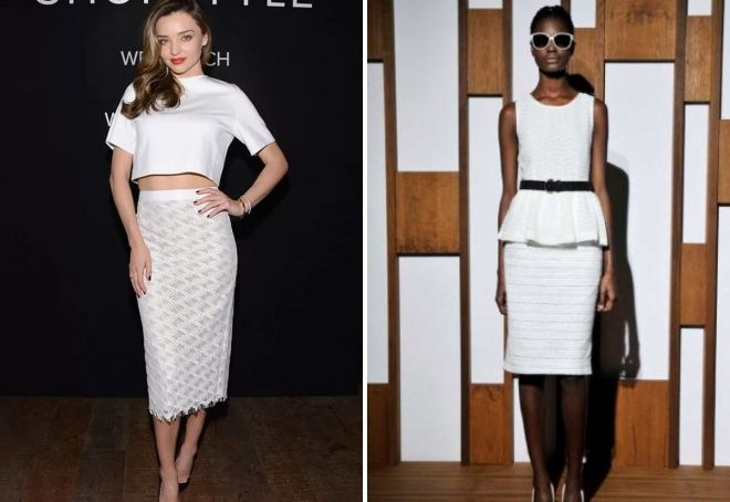 белая юбка-карандаш с завышенной талией