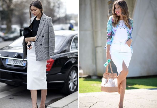 девушка в белой юбке карандаш