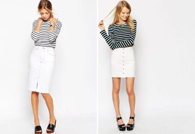 белая джинсовая юбка-карандаш