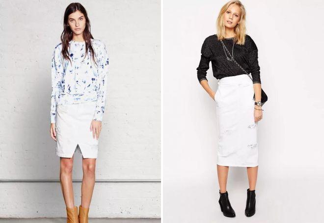 модная белая юбка-карандаш