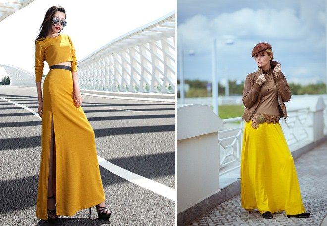 желтая юбка в пол