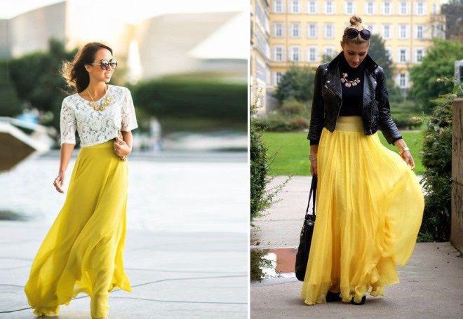длинная желтая юбка