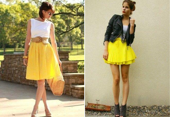 желтая летняя юбка