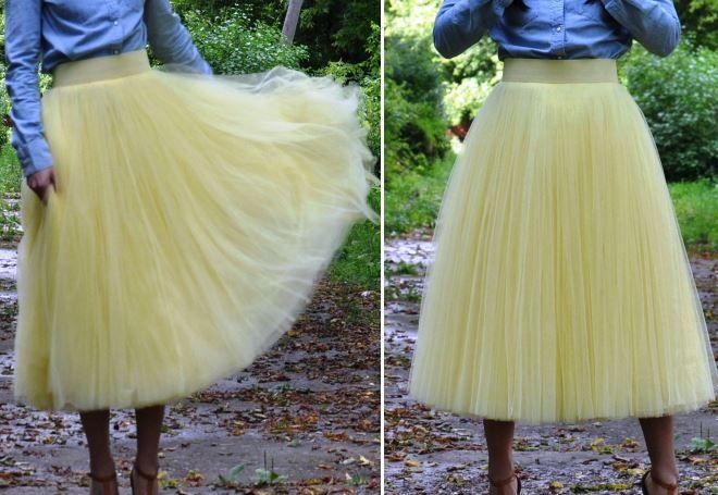 желтая юбка из фатина