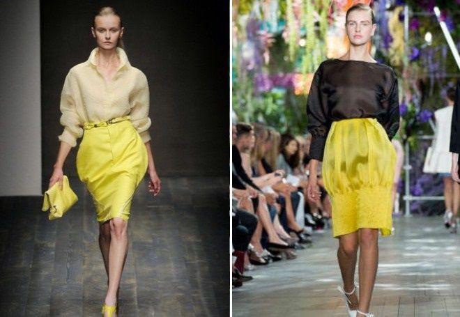желтая юбка тюльпан