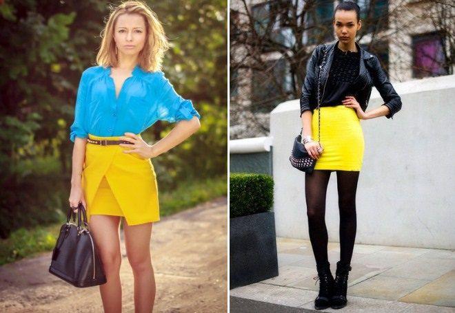 желтые мини юбки