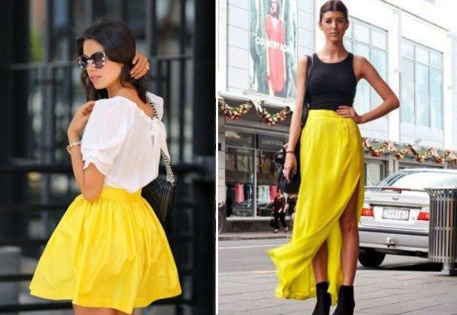 желтая женская юбка