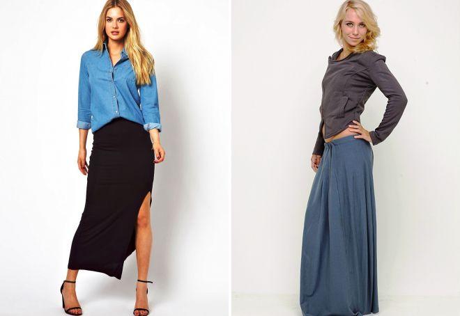 женская длинная трикотажная юбка