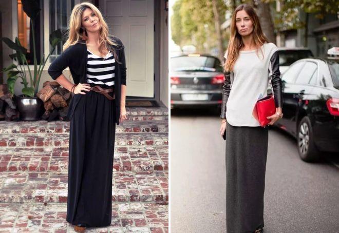 стильная длинная прямая юбка