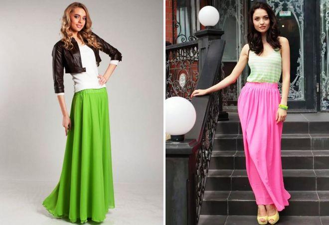 длинные плиссированные юбки