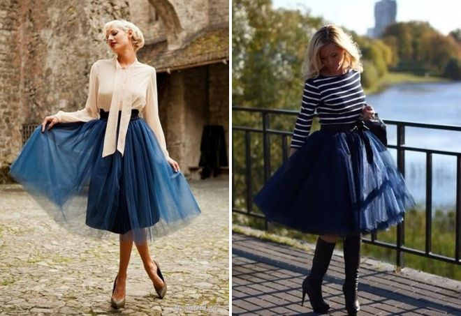 стильные синие юбки из фатина