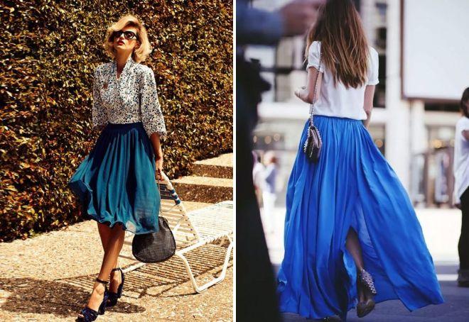 синие шифоновые юбки