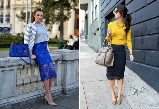 синие кружевные юбки