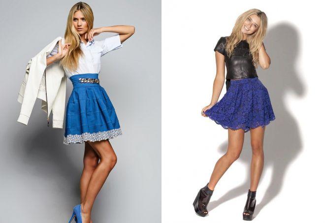 синие юбки с кружевом