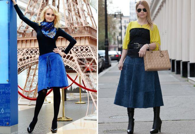 синяя замшевая юбка