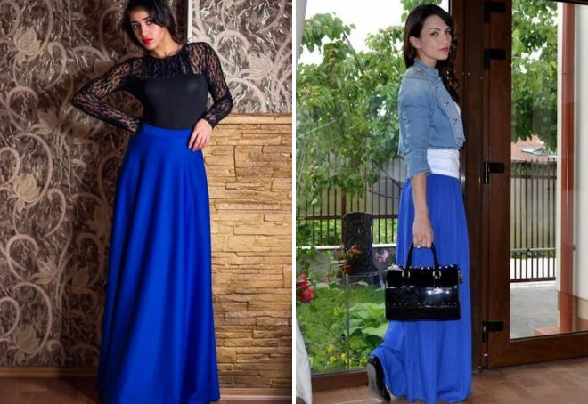 синяя женская юбка