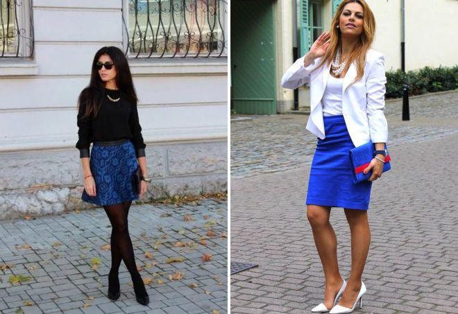 короткие синие юбки