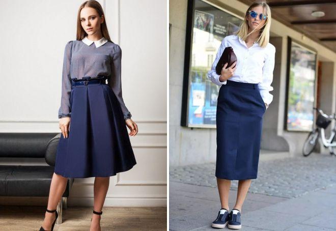 темно синяя юбка