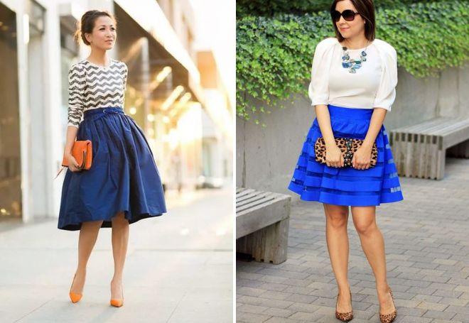 синяя юбка миди