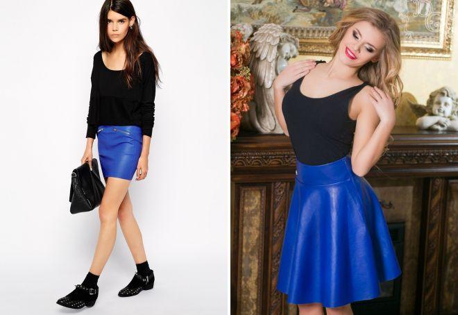 модная синяя кожаная юбка
