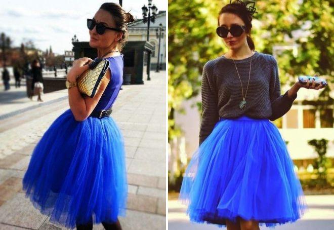 синие юбки из фатина