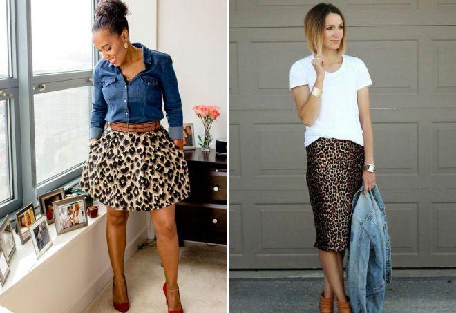 с чем сочетается леопардовая юбка
