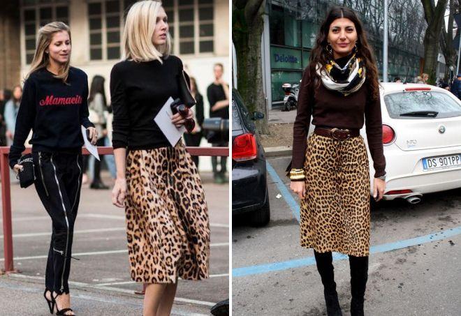длинные леопардовые юбки