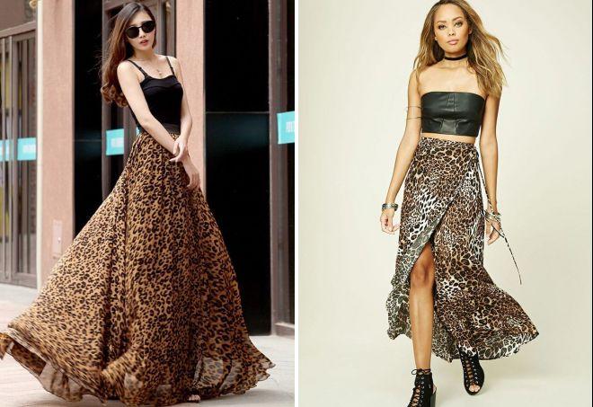 с чем носить длинную леопардовую юбку