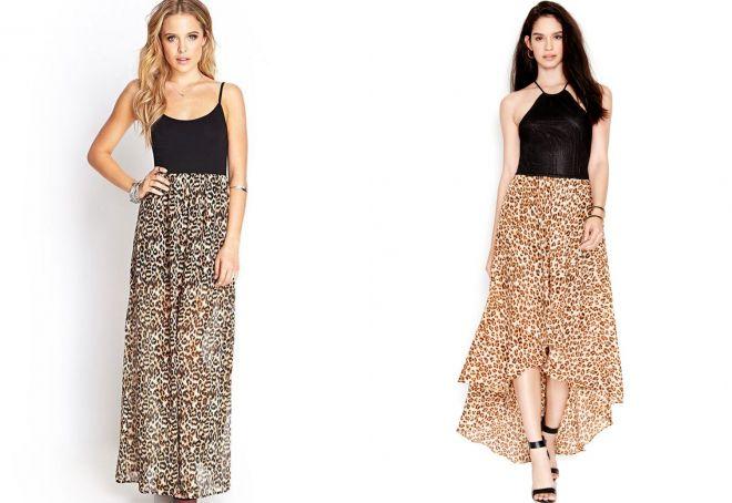леопардовые юбки в пол