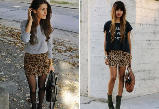обтягивающая леопардовая юбка