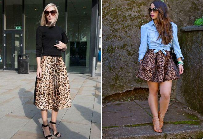 короткая леопардовая юбка клеш