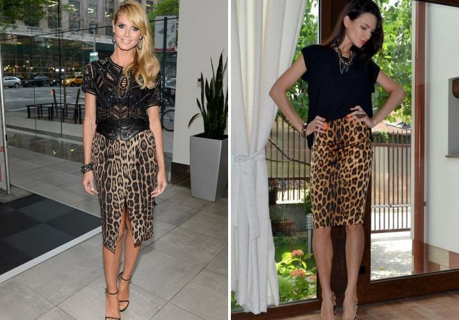 короткая леопардовая юбка