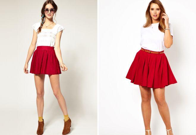 короткая юбка плиссе из трикотажа