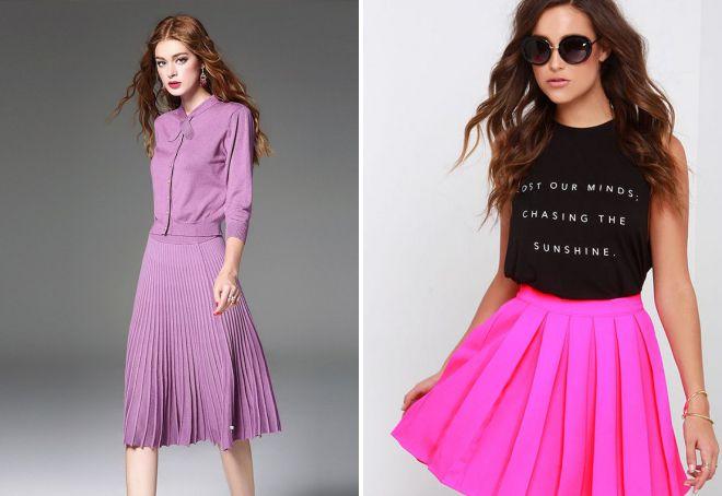 розовая юбка плиссе из трикотажа