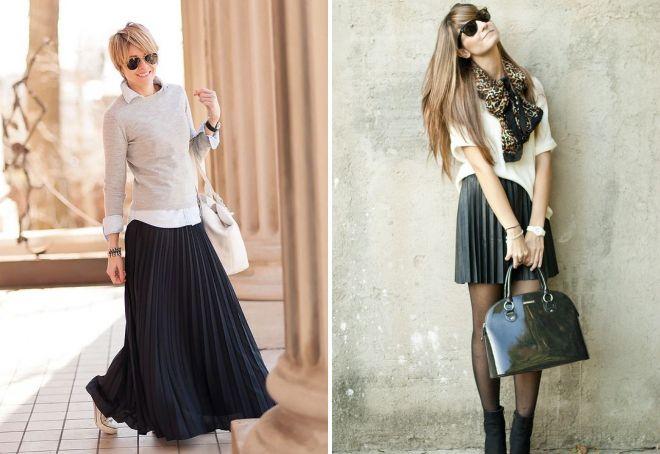 с чем носить трикотажную плиссированную юбку