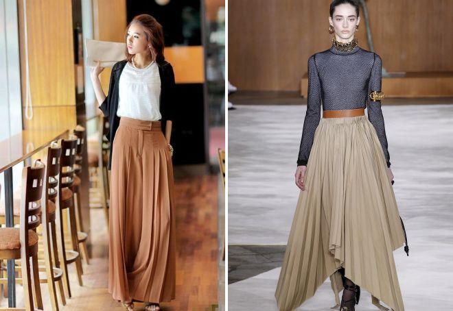 модная юбка плиссе из трикотажа