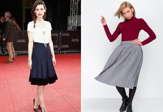 трикотажная юбка плиссе с чем носить