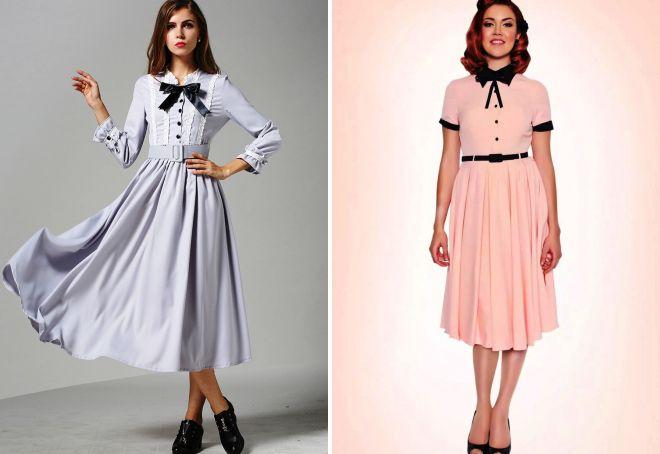 фасоны ретро платьев