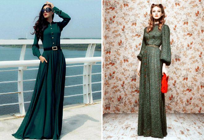 длинные платья в стиле ретро