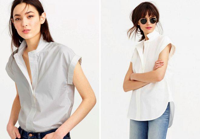 874cd8eb64aeca7 Модная женская рубашка с коротким рукавом – белая и черная ...