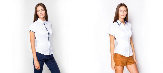 4b862a8afdf7294 Модная женская рубашка с коротким рукавом – белая и черная ...