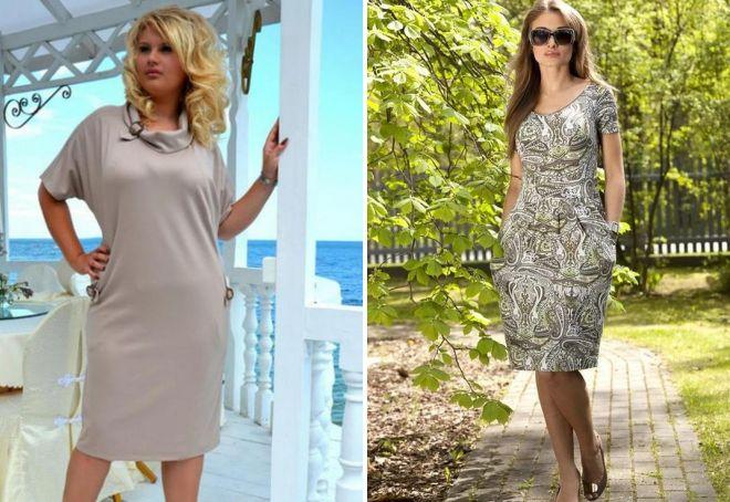 модели трикотажных платьев для полных женщин