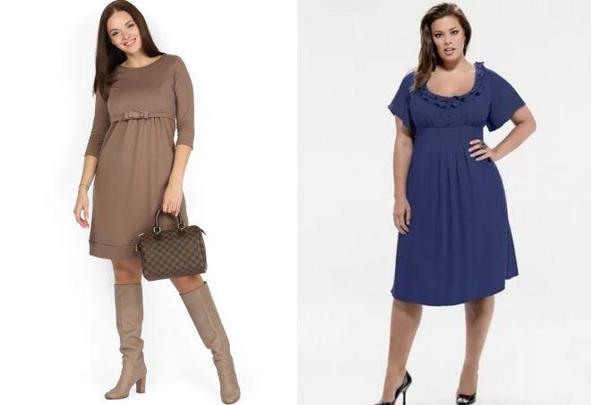 трикотажное платье с завышенной талией для полных